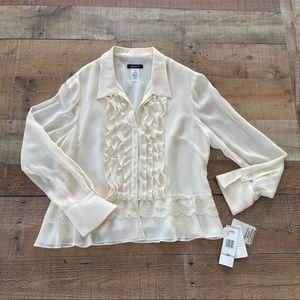 NEW Jones New York Ruffle & Lace Silk Blouse